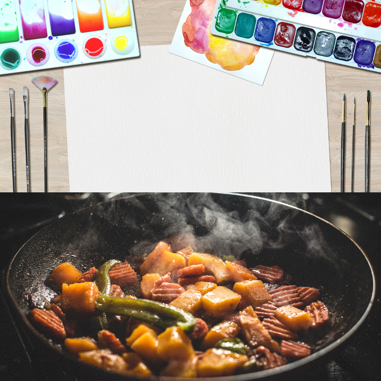 Paint with a cooking wok